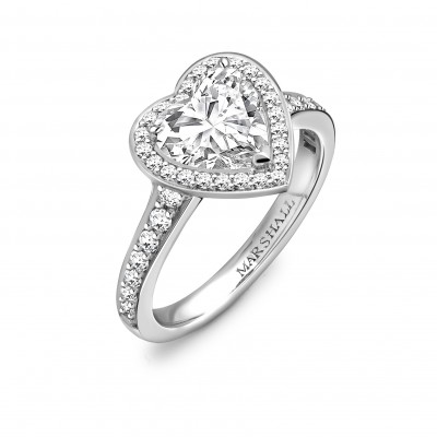 Vintage Heart Shaped Diamond Ring Perspective View